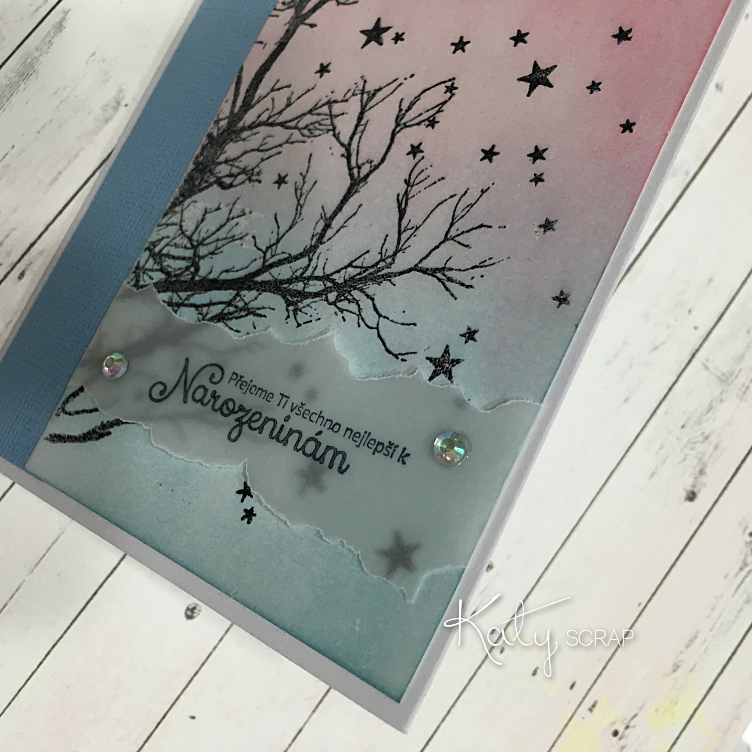 Kurz Cardmaking -background horkým embossem 30.1.2016